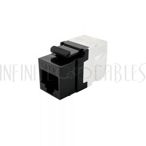 JK-C6PB-BK RJ45 Cat6 Slim Profile 180 Degree Jack, 110 Punch-Down - Black - Infinite Cables