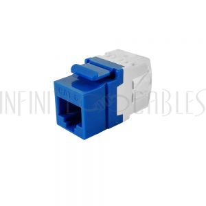 JK-C6PB-BL RJ45 Cat6 Slim Profile 180 Degree Jack, 110 Punch-Down - Blue - Infinite Cables