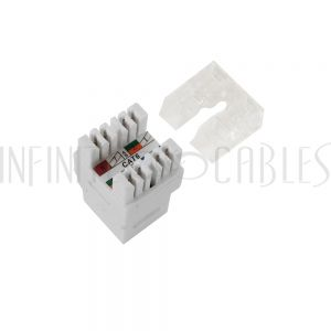 JK-C6PB-WH RJ45 Cat6 Slim Profile 180 Degree Jack, 110 Punch-Down - White