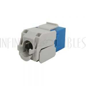 JK-C6PB1-BL RJ45 Cat6 Slim Profile 180 Degree Jack, 110 Punch-Down or Tool-Less - Blue