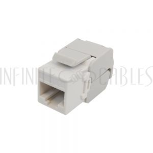JK-C6PB1-WH RJ45 Cat6 Slim Profile 180 Degree Jack, 110 Punch-Down or Tool-Less - White - Infinite Cables