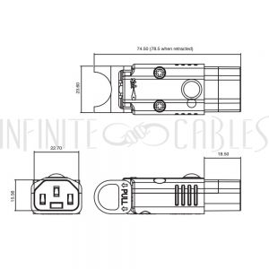 PW-CNC13L C13 Locking Power Cord Connector - Screw On (IEC-Lock Part #: PA130100BK)