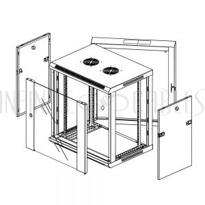 "RM-550-12U Wall Mount Swing-Out Cabinet 12U x 18.5"" Usable Depth, Fans - Black - Infinite Cables"