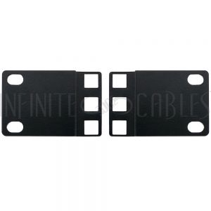 RM-650-1U 1U 23 inches to 19 inches Reducer Panel Adapter, Square Hole - Black (Pair) - Infinite Cables