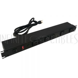 1582H6A1SBK Hammond Power strip with surge - horizontal rackmount, 6ft cord, front 6-out 5-15R - Infinite Cables