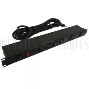1582H6B1SBK Hammond Power strip with surge - horizontal rackmount, 15ft cord, front 6-out 5-15R - Infinite Cables