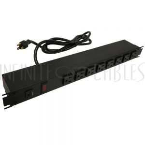 1582T8A1BK Hammond 19 Inch 8 Outlet Horizontal Rack Mount Power Strip - 6ft Cord, 5-15P Plug, 5-15R Front Receptacles