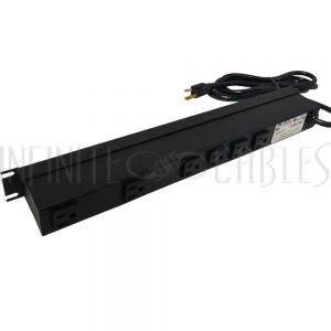 1583H6A1SBK Hammond Power strip with surge protection - horizontal rackmount, 6ft 5-15P cord, rear 6-out 5-15R - Infinite Cables