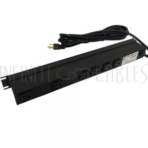 1583H6B1SBK Hammond Power strip with surge protection - horizontal rackmount, 15ft 5-15P cord, rear 6-out 5-15R