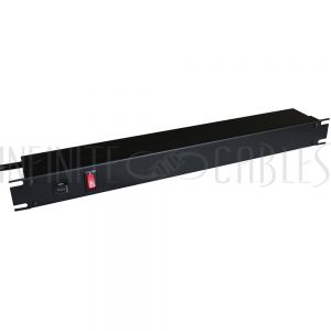 1583H8A1BK Hammond 19 Inch 8 Outlet Horizontal Rack Mount Power Strip - 6ft Cord, 5-15P Plug, 5-15R Rear Receptacles with On/Off Switch - Infinite Cables