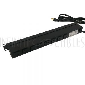 1583T8A1BK Hammond 19 Inch 8 Outlet Horizontal Rack Mount Power Strip - 6ft Cord, 5-15P Plug, 5-15R Rear Receptacles