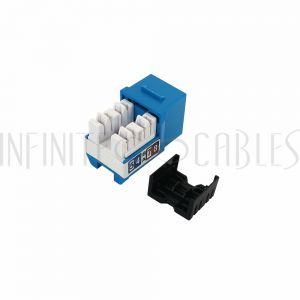 JK-C6P1-BL RJ45 Cat6 Slim Profile Jack, 110 Punch-Down - Blue - Infinite Cables
