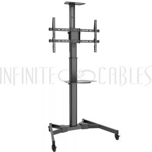 MT-2500-BK TV Cart with Shelf - Tilt, Pivot, Adjustable Height - Fits Sizes 37-70 inches, Maximum VESA 600x400