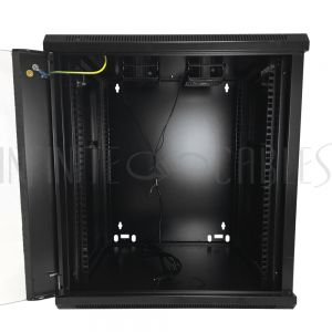 "RM-500-12U Wall Mount Cabinet 12U x 19.5"" Usable Depth, Glass Door, Fans - Black - Infinite Cables"