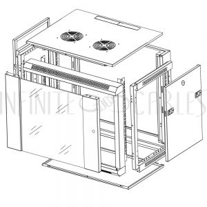 "RM-500-9U Wall Mount Cabinet 9U x 19.5"" Usable Depth, Glass Door, Fans - Black - Infinite Cables"