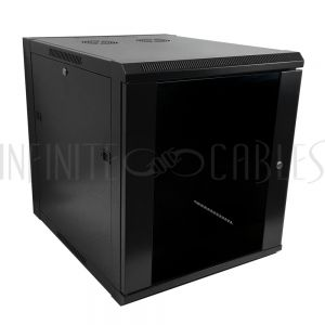 "RM-510-12U Wall Mount Cabinet 12U x 23"" Usable Depth, Glass Door, Fans - Black - Infinite Cables"