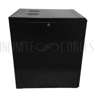 "RM-510-15U Wall Mount Cabinet 15U x 23"" Usable Depth, Glass Door, Fans - Black - Infinite Cables"