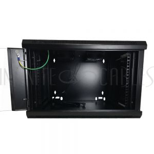 "RM-510-6U Wall Mount Cabinet 6U x 23"" Usable Depth, Glass Door, Fans - Black"