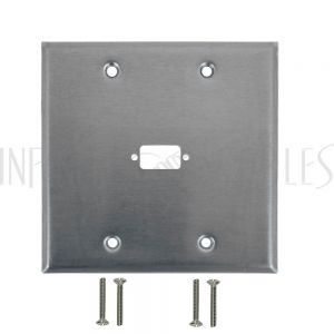WP-210-SS Double Gang, 1-Port DB9 size cutout Stainless Steel Wall Plate - Infinite Cables