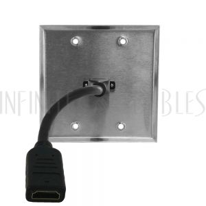 WPK-SS-211 HDMI Double Gang Wall Plate Kit - Stainless Steel - Infinite Cables