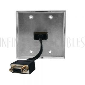 WPK-SS-212 VGA Double Gang Wall Plate Kit - Stainless Steel - Infinite Cables