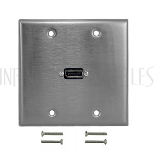 WPK-SS-213 DisplayPort Double Gang Wall Plate Kit - Stainless Steel - Infinite Cables