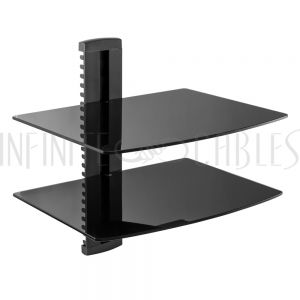 MT-112-BK Media Player - A/V Component Wall Mount Dual Shelf, Glass - Black - Infinite Cables