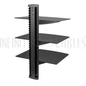 MT-113-BK Media Player - A/V Component Wall Mount Triple Shelf, Glass - Black - Infinite Cables
