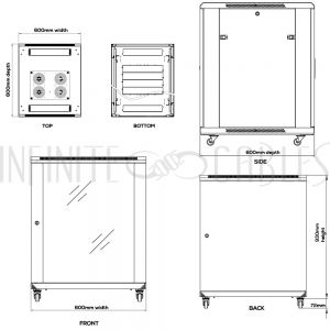 RM-1205 18U A/V and Networking Cabinet - Pre-Loaded with Fan Top, 3 Shelves & Blank Panels - Black - Infinite Cables