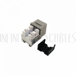 JK-C6P1-GY RJ45 Cat6 Slim Profile Jack, 110 Punch-Down - Grey - Infinite Cables