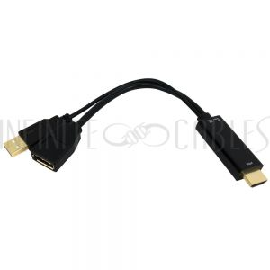 AD-HDMI-DP-A 6 inch HDMI Male to DisplayPort Female 4K Adapter, Active - Black - Infinite Cables