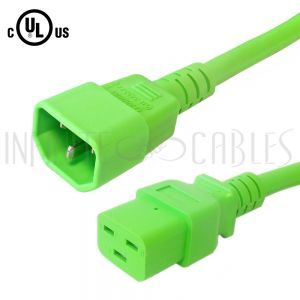 C14 to C19 14AWG Power Cords - Green - Infinite Cables