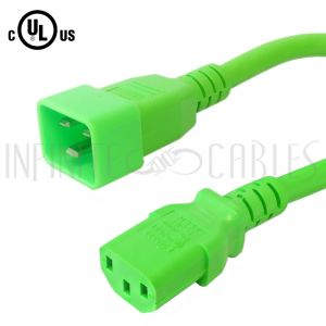 C13 to C20 14AWG Power Cords - Green - Infinite Cables