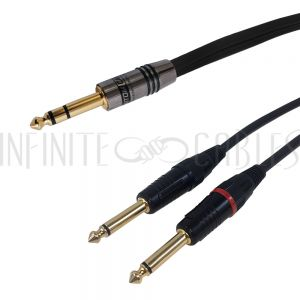 1/4 Inch TRS Male to 2x 1/4 Inch TS Male Cables - Premium - Infinite Cables