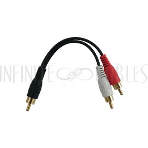 AUD-930-6IN 6 inch Subwoofer Y-Splitter RCA Male to 2 x RCA Male Cable