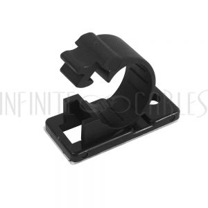 CC-210-BK 100pk Cable Clamp, 12mm OD Cable, Self-Adhesive or Screw-Down - Black - Infinite Cables