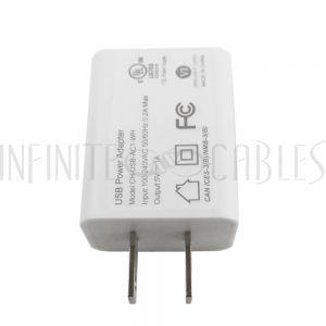 CH-USB-AC1-WH USB A Female To AC (110V) Adapter (5V/1A) - White - Infinite Cables