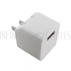 CH-USB-AC1S-WH USB A female to AC (110V) SMART IQ Wall Charger - WHITE (5V/2.4A) - Infinite Cables
