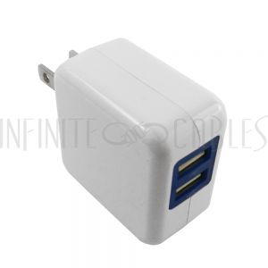 CH-USB-AC2S-WH USB A female to AC (110V) 2-port SMART Wall Charger (5V/2.4A) - White - Infinite Cables