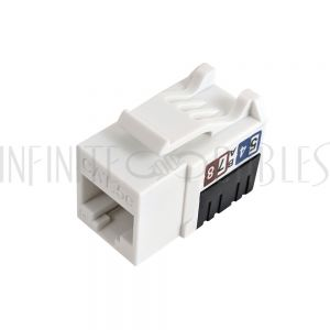 JK-C5P1-WH RJ45 Cat5e Slim Profile Jack, 110 Punch-Down - White