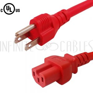 5-15P to C15 Power Cords - Red - Infinite Cables