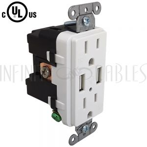PW-PR1DU-WH Hubbell Power Receptacle Duplex (15A 125V) + 2x USB Decora - USB15X2WH White - Infinite Cables