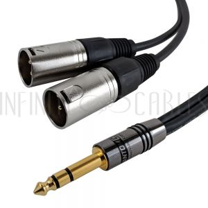 1/4 Inch TRS to 2x XLR Male Splitter - Premium - Infinite Cables
