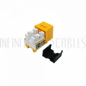 JK-C6P1-YL RJ45 Cat6 Slim Profile Jack, 110 Punch-Down - Yellow - Infinite Cables