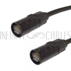 CAT6AAS-01BK RJ45 Cat6a SFTP Ethercon Heavy Duty AV Pro Cable - Infinite Cables
