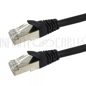 CAT6SM-01BK Cat6 Stranded Shielded 26AWG Molded Patch Cable - Premium Fluke® Patch Cable Certified - CMR Riser Rated - Infinite Cables