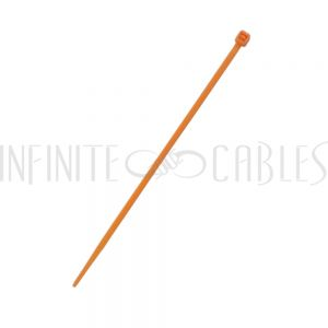 CT-104-100OR 100pk 4 inch cable tie (18lb) - UL94 V-2 nylon 66 - Orange - Infinite Cables