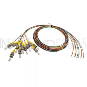 FO-PT600-10R-12PK 3m ST/UPC singlemode simplex 9 micron 900um pigtail (12-pack) - color coded - Infinite Cables