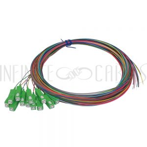 FO-PT604-10AR-12PK 3m SC/APC singlemode simplex 9 micron 900um pigtail (12-pack) - color coded - Infinite Cables