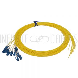 FO-PT608-10-12PK 3m LC/UPC singlemode simplex 9 micron 900um pigtail (12-pack) - yellow - Infinite Cables